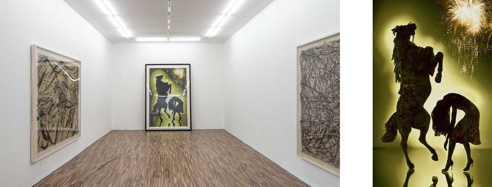 Left: Vanguard Gallery, exhibition view Right: Yuki Onodera, Annular Eclipse-Horse, serigraphy on silk, 2007