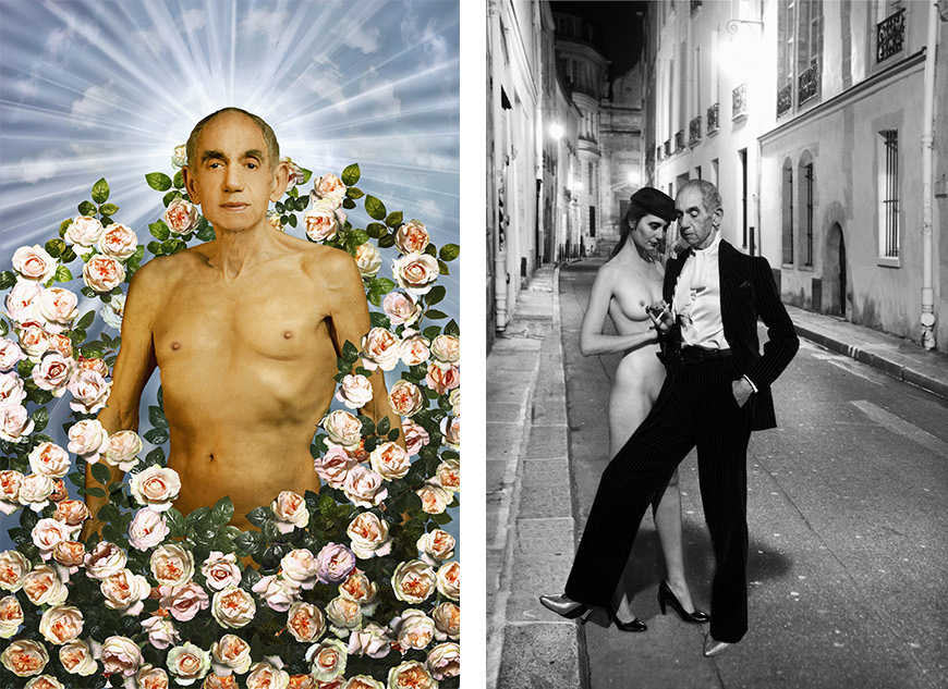 Left: Hommage à Pierre et Gilles, La tentation d'Adam, 1996 © Catherine Balet, 2014. Courtesy galerie Thierry Bigaignon  Right: Hommage à Helmut Newton, YSL, French Vogue, rue Aubriot, Paris 1975 © Catherine Balet, 2014. Courtesy galerie Thierry Bigaignon