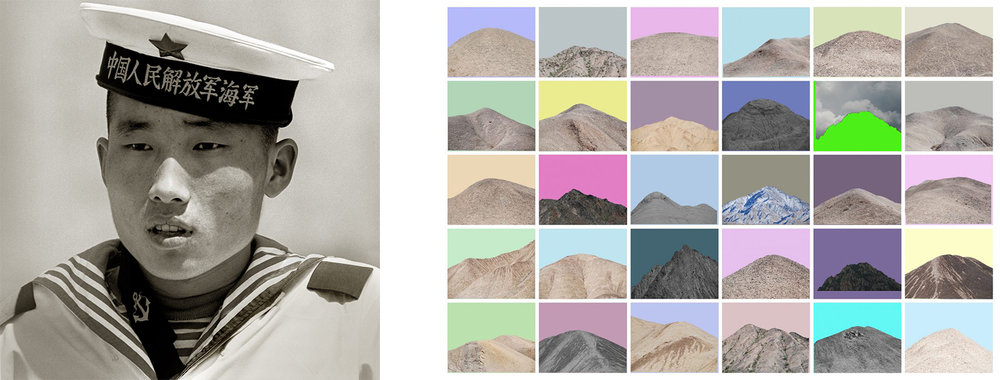 "Left: ""Sailor, People's Heroes Monument, Beijing,"" 1979 © Albert Watson Right: ""Qilian Range - 11,"" 2015 © Zhuang Hui"