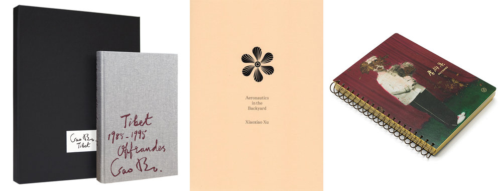 "From left to right: Gao Bo's ""Offrandes, Tibet 1985-1995"" published in 2017 by Éditions Xavier Barral, Xiaoxiao Xu's ""Aeronautics in the backyard"" published in 2016 by Eriskay Connection, and Sun Yanchu's ""Ficcionnes"" published un 2016 by Jiazazhi Press"