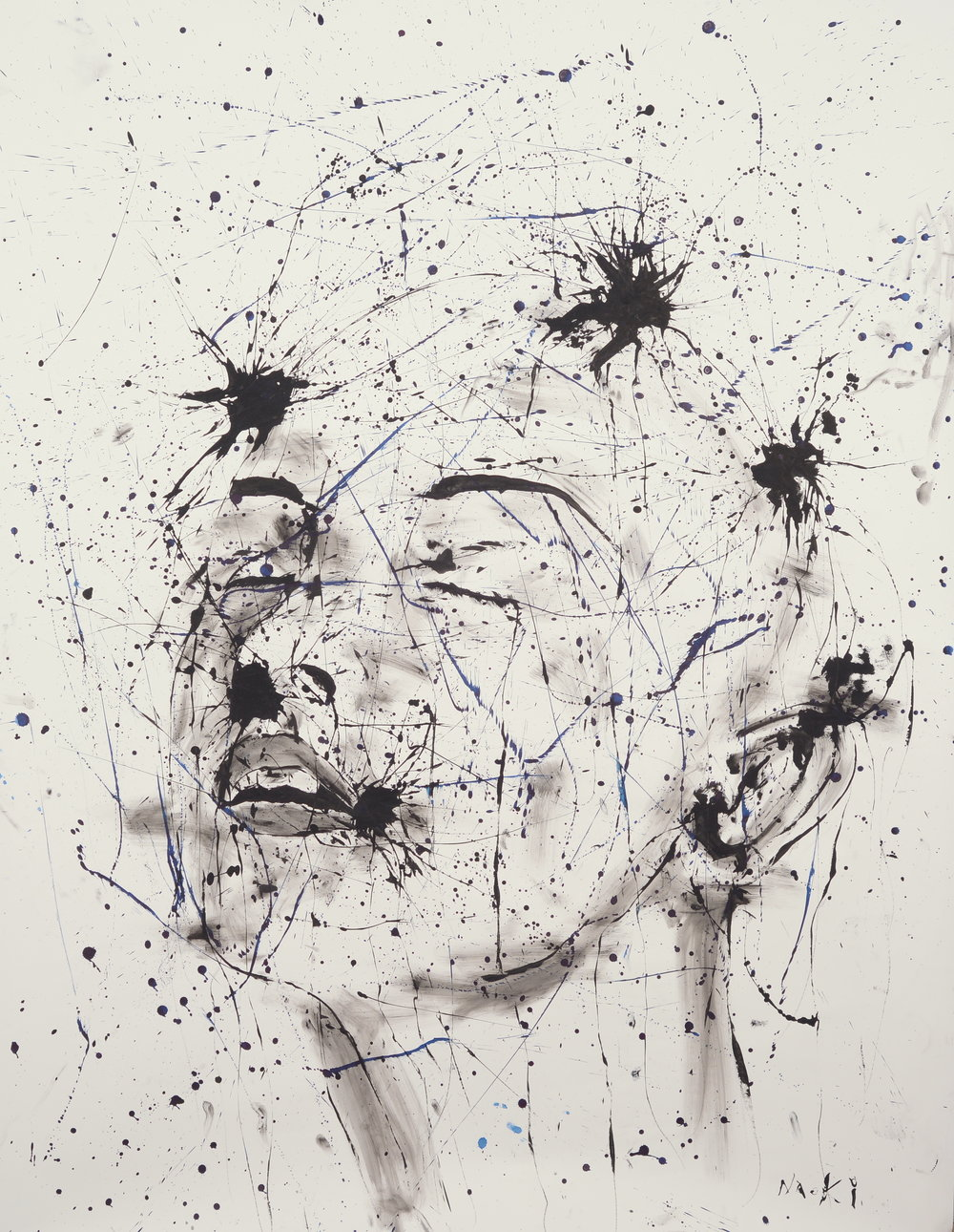 Naoki Fuku, Study of the Human Mind - Calm. ink on Paper, 100 x 210cm 2016