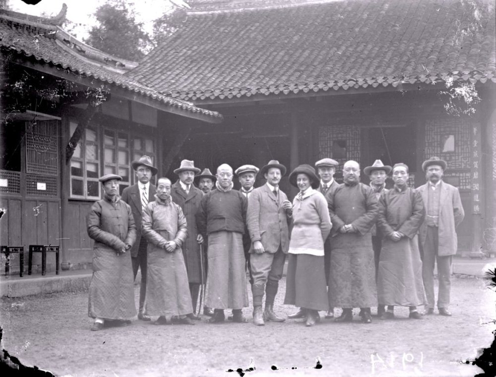 Group picture in the courtyard of the German consulate in Chengdu before leaving for Yunnan, 1914
