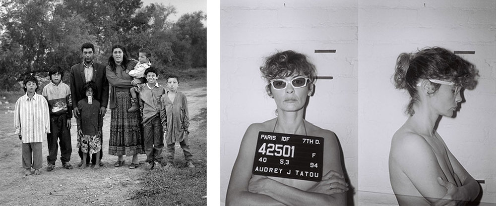 Left: Mathieu Pernot,  Famille Gorgan , Arles, 1995. Avec l'aimable autorisation de la galerie Éric Dupont. / Mathieu Pernot,  The Gorgan familly , Arles, 1995. Courtesy of the Éric Dupont gallery. Right: Audrey Tautou,  Sans titre . Avec l'aimable autorisation de l'artiste.  /  Untitled . Courtesy of the artist.