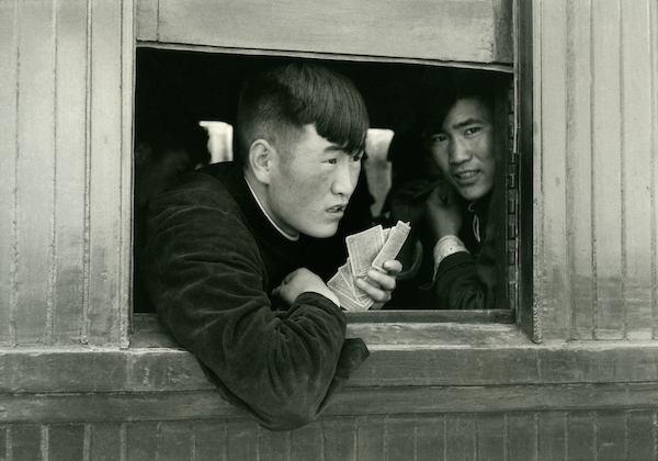 Wu Wei station, people going west to Yumen (cards),, Kansu, 1956 | Courtesy of Tom Hutchins Images Ltd., New Zealand
