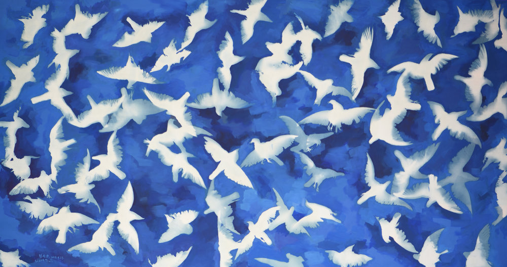 Blue Blue Sky, Cyanotype and Oil on Canvas, 220 x 410 cm, 2016 | Photo Copyright Artist Zhang Dali and Courtesy of Pékin Fine Arts