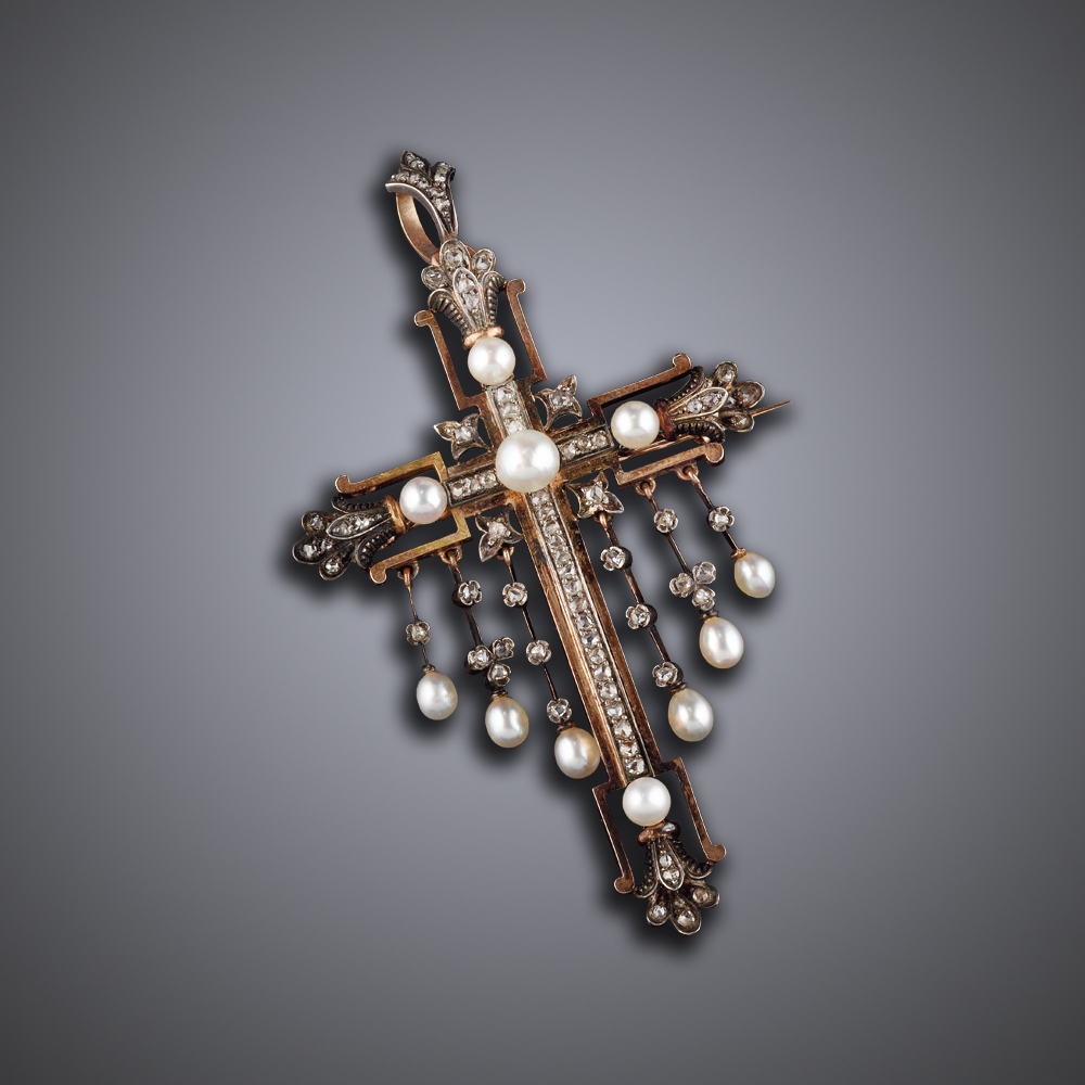 Antique Cross Pendant Broach