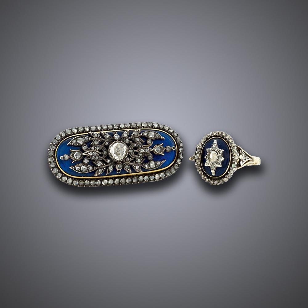Antique Diamond and Enamel Set