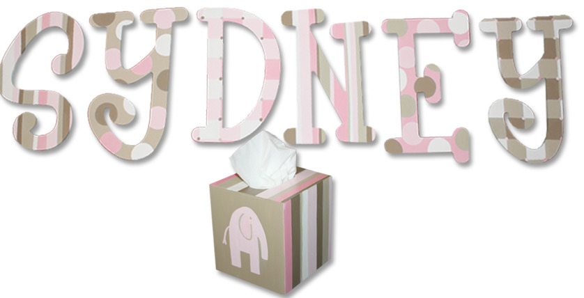 "SYDNEY  - 8"", Font: Whimsical (w/matching tissue box)"