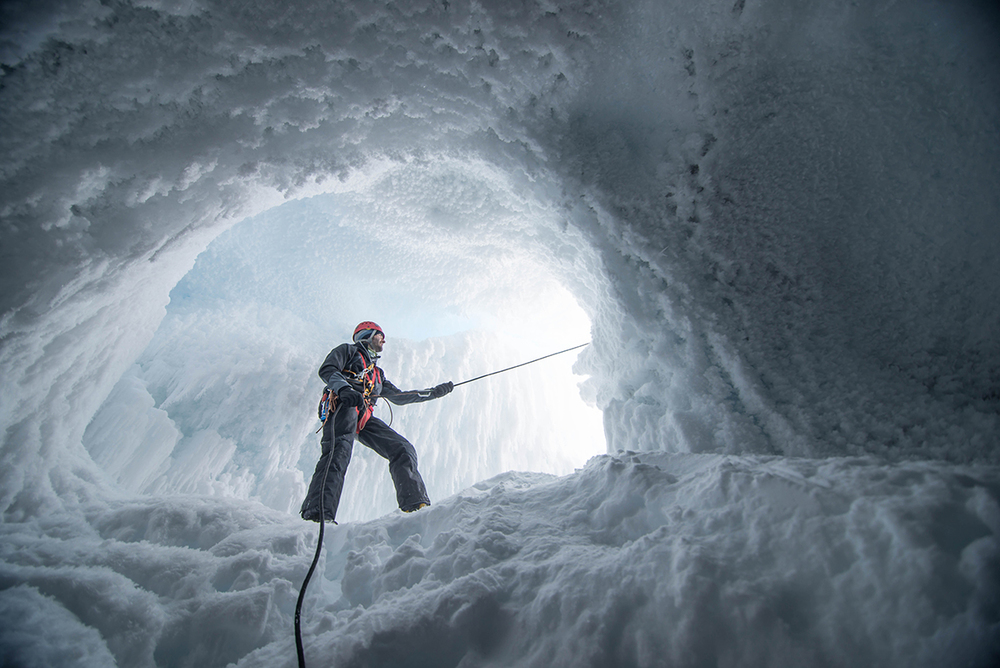 Extremely challenging shooting conditions in a steam cave near the summit of Mt. Erebus, Antarctica.  Outside temperatures around -30 and inside temperatures of just above freezing and 100% humidity.