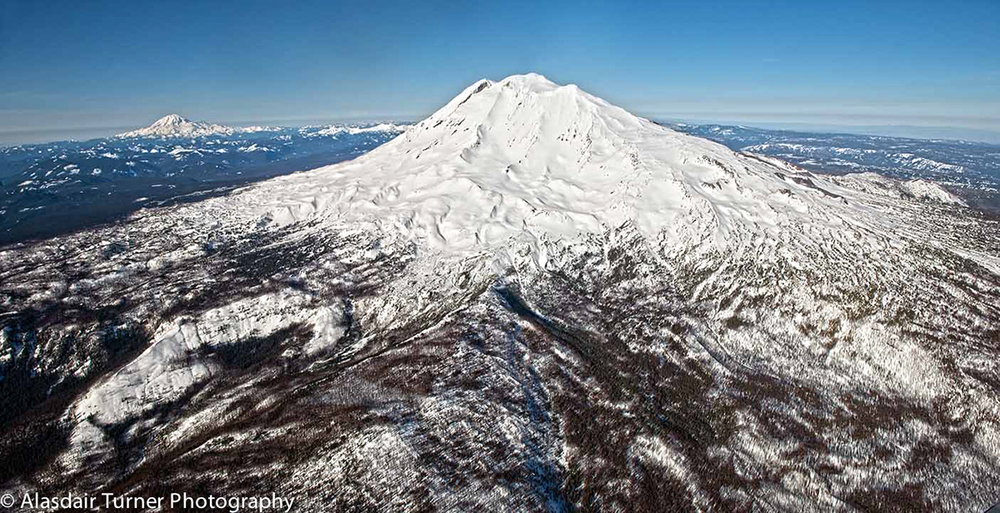 Mount Adams, Washington.  Shot from a Dehavilland Beaver.