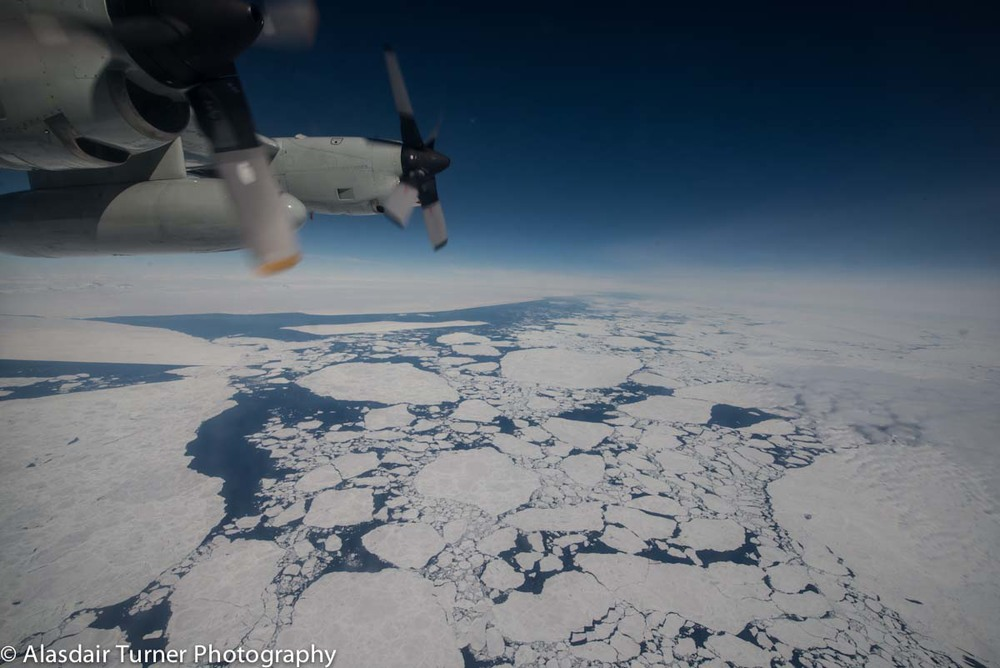Pack ice on the Mawson Coast, Antarctica from 20,000 ft. Shot from a LC-130.