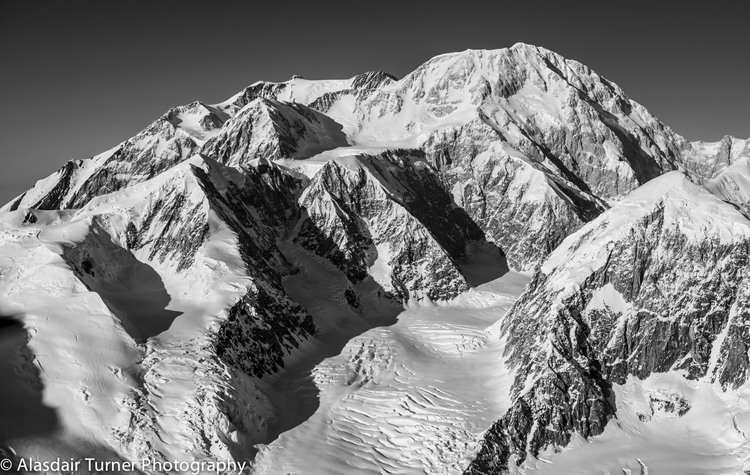 The photo I flew to Alaska to get.  Denali, showing the West Buttress route.  Click on the image to purchase.