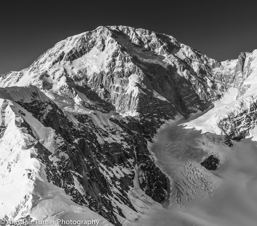 Denali from the south.  The Cassin Ridge is the central rib that extents to the summit.   Click on the image to purchase.