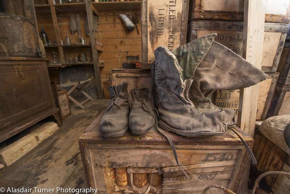 Boots inside the Nimrod hut.