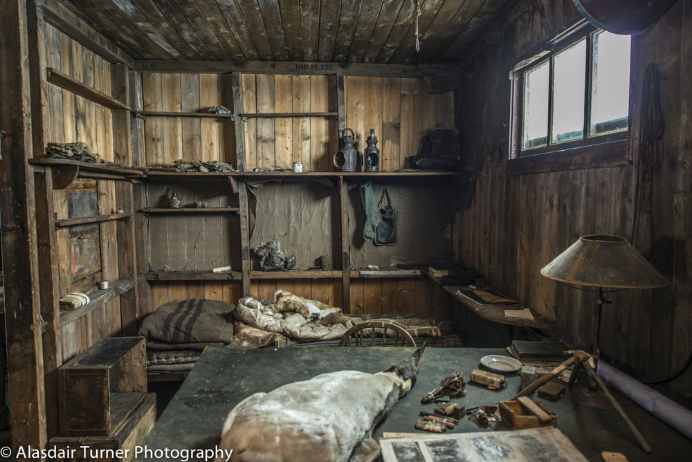 Robert Falcon Scott's desk and bed inside the Terra Nova hut at Cape Evans, Antarctica.