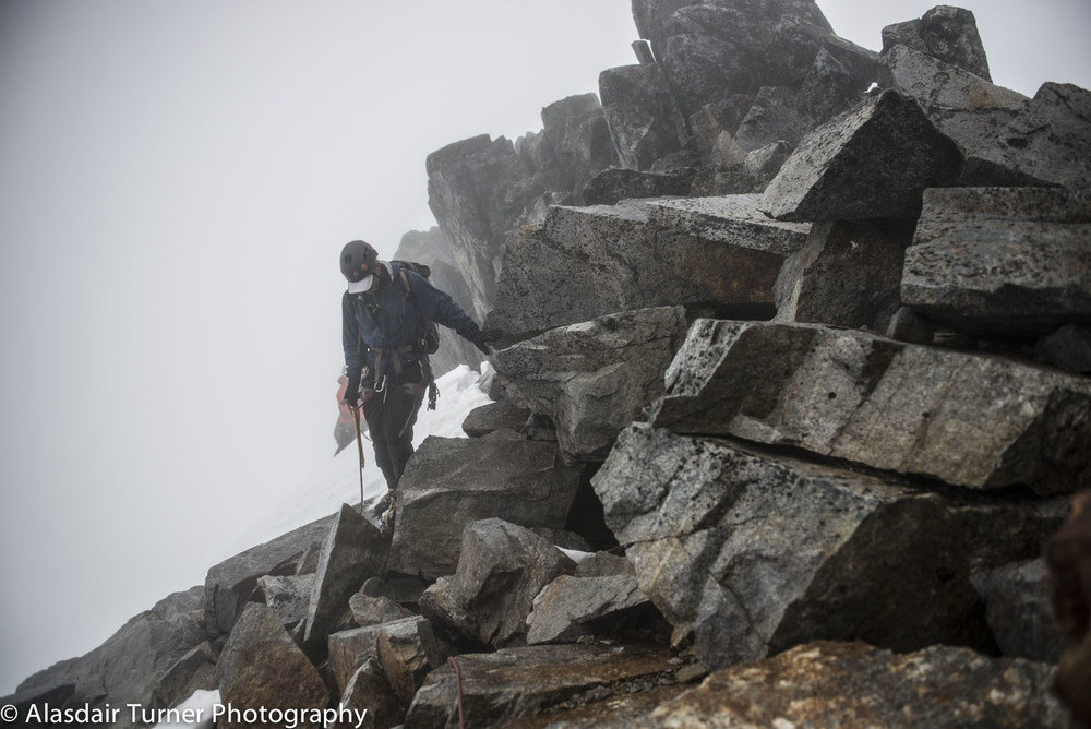 Trying to find the summit of Mount Challenger in the fog.