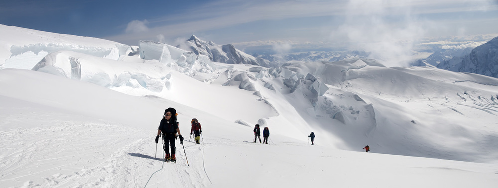 Climbers moving up to to 14,000ft camp on Denali's West Buttress.