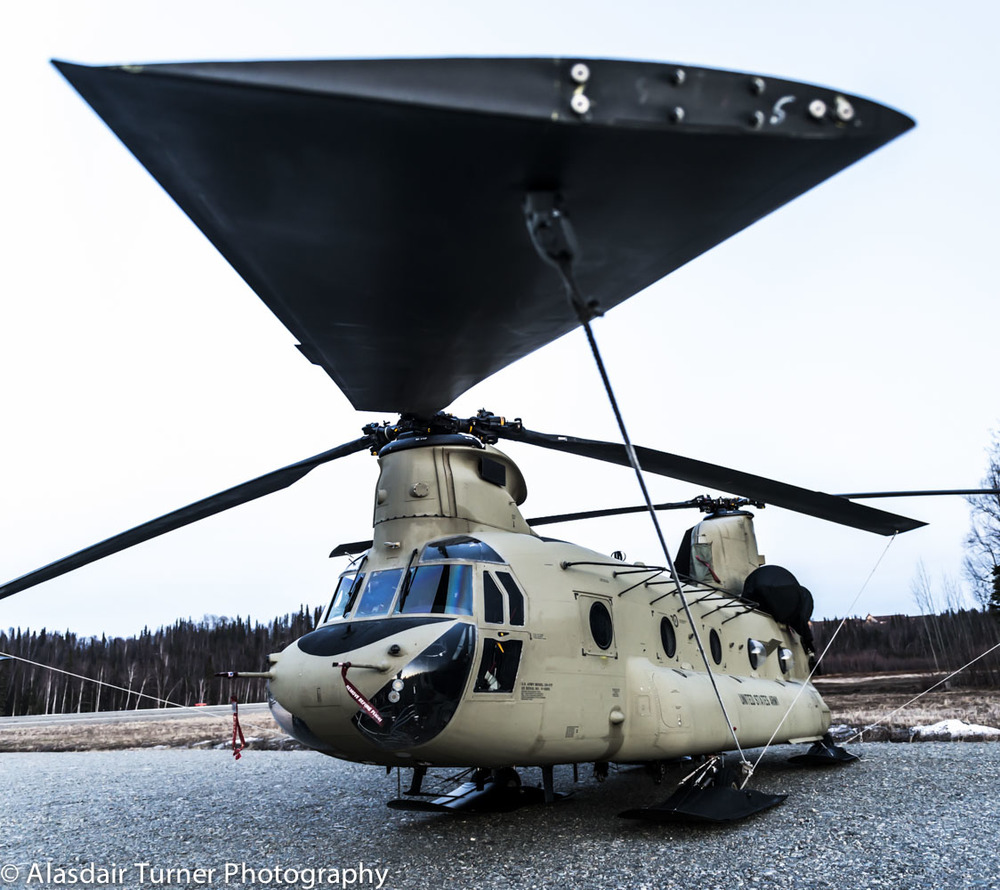 A chinook at the Talkeetna airport that was assisting Denali National Park prepare for climbing season.