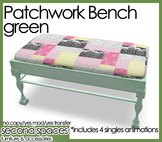 patchwork bench green