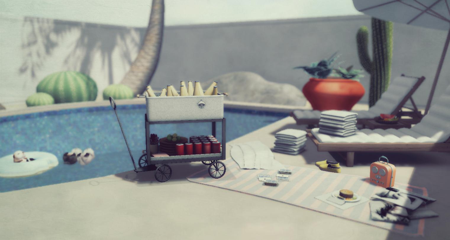 fancy poolside bev cart