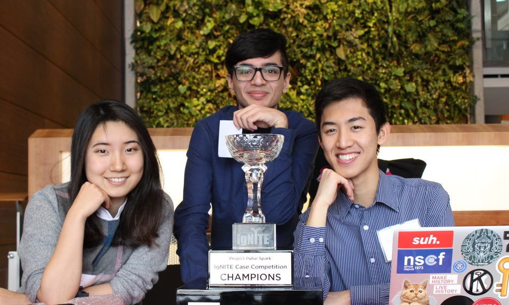 Introducing Ignite 2016 champions! Left to Right - Eileen Kim, Hadi Tehfe and William Zhang. The three of them have helped develop this year's case package and are happy to help new teams in writing their proposal.