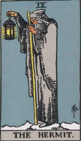 The Hermit from the Rider-Waite Tarot Deck