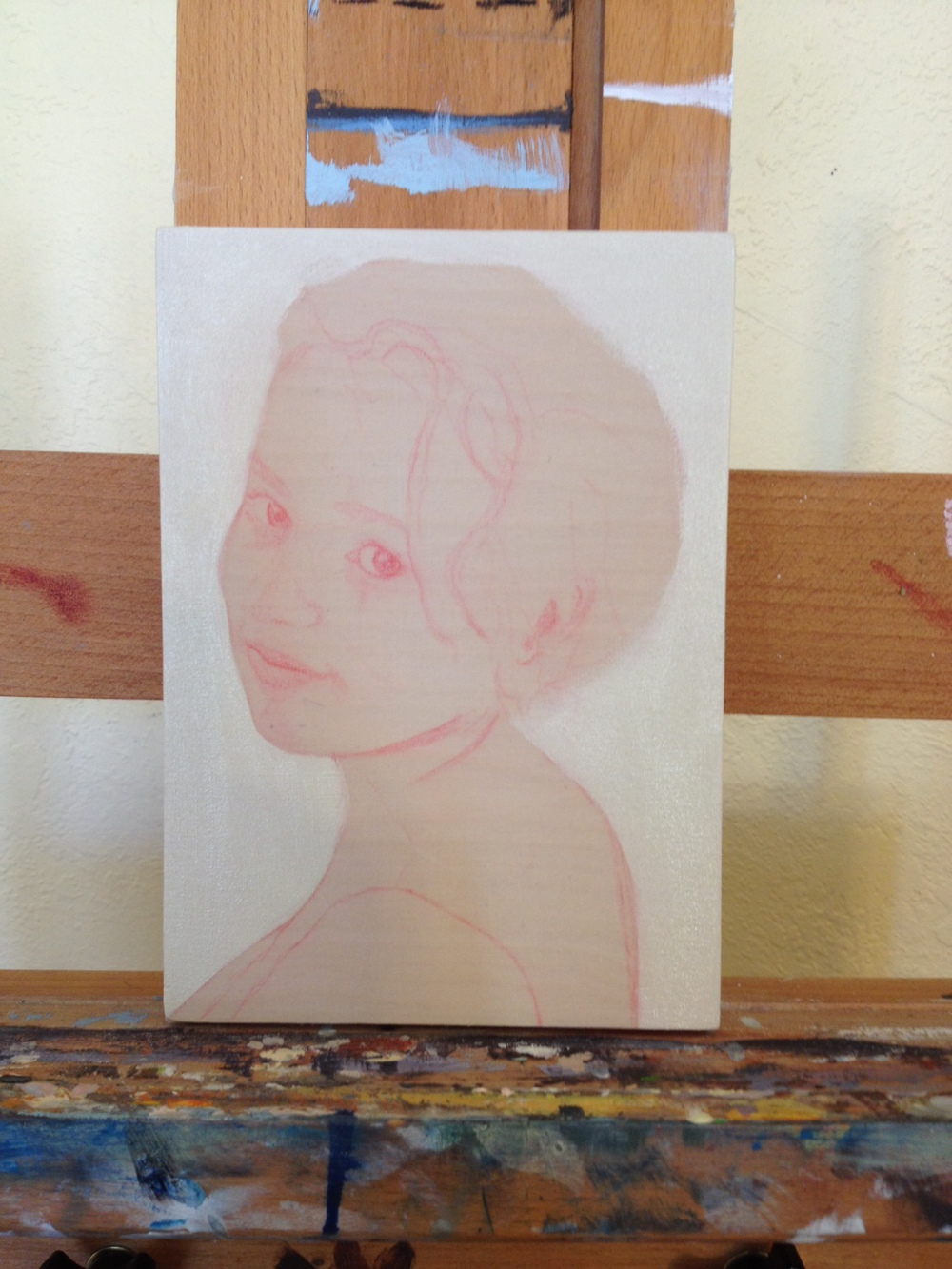 Initial drawing for a portrait of one of my students; classically beautiful and a killer writer to boot!