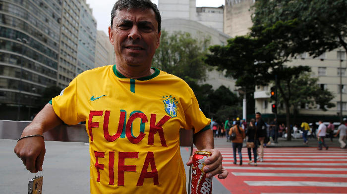 "A population fed up, the Brazilians are tired of being robbed. ""We love football, we just don't want the World Cup here - Vice News 2014 (c)"
