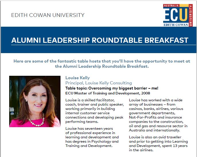 Honoured to be asked to speak at the ECU Alumni Roundtable breakfast at the Perth Convention and Exhibition Centre