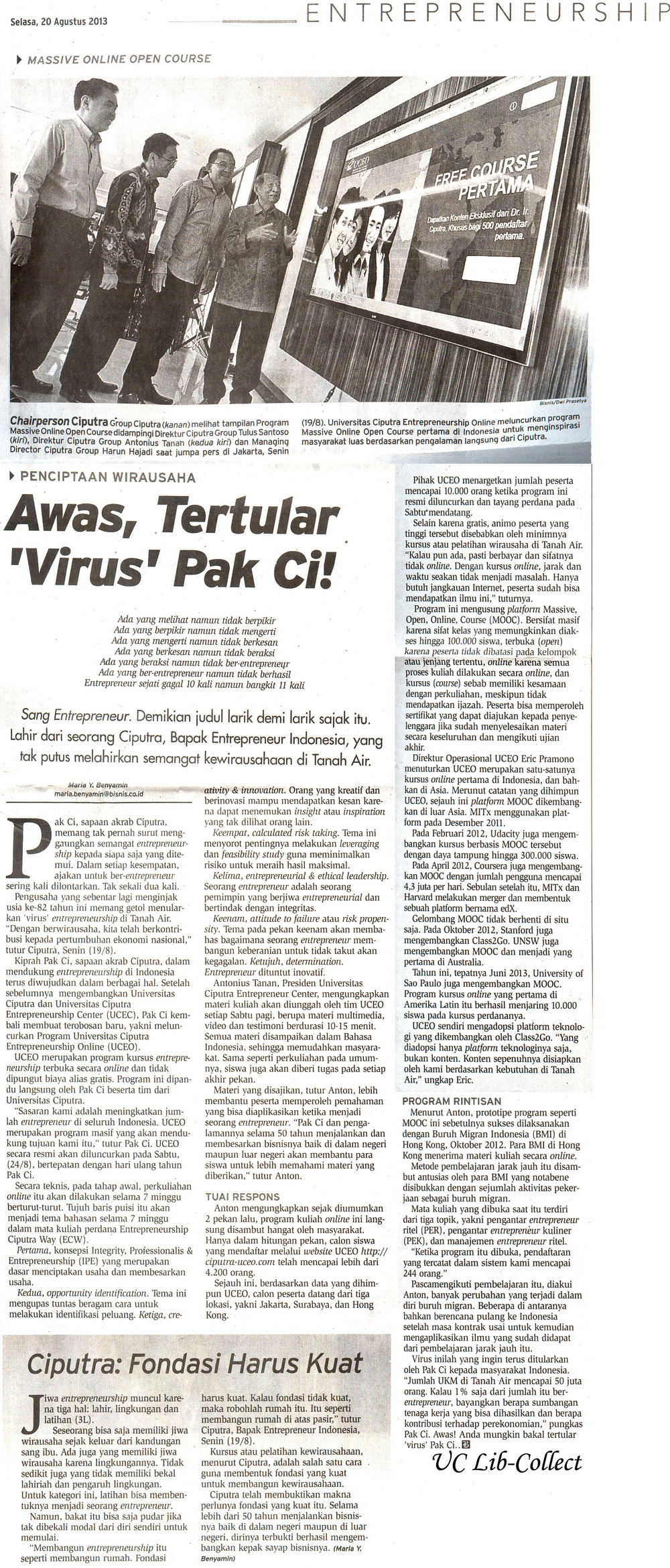 Awas Tertular Virus Pak Ci.Bisnis Indonesia.20 Agustus 2013.Hal.27.jpg