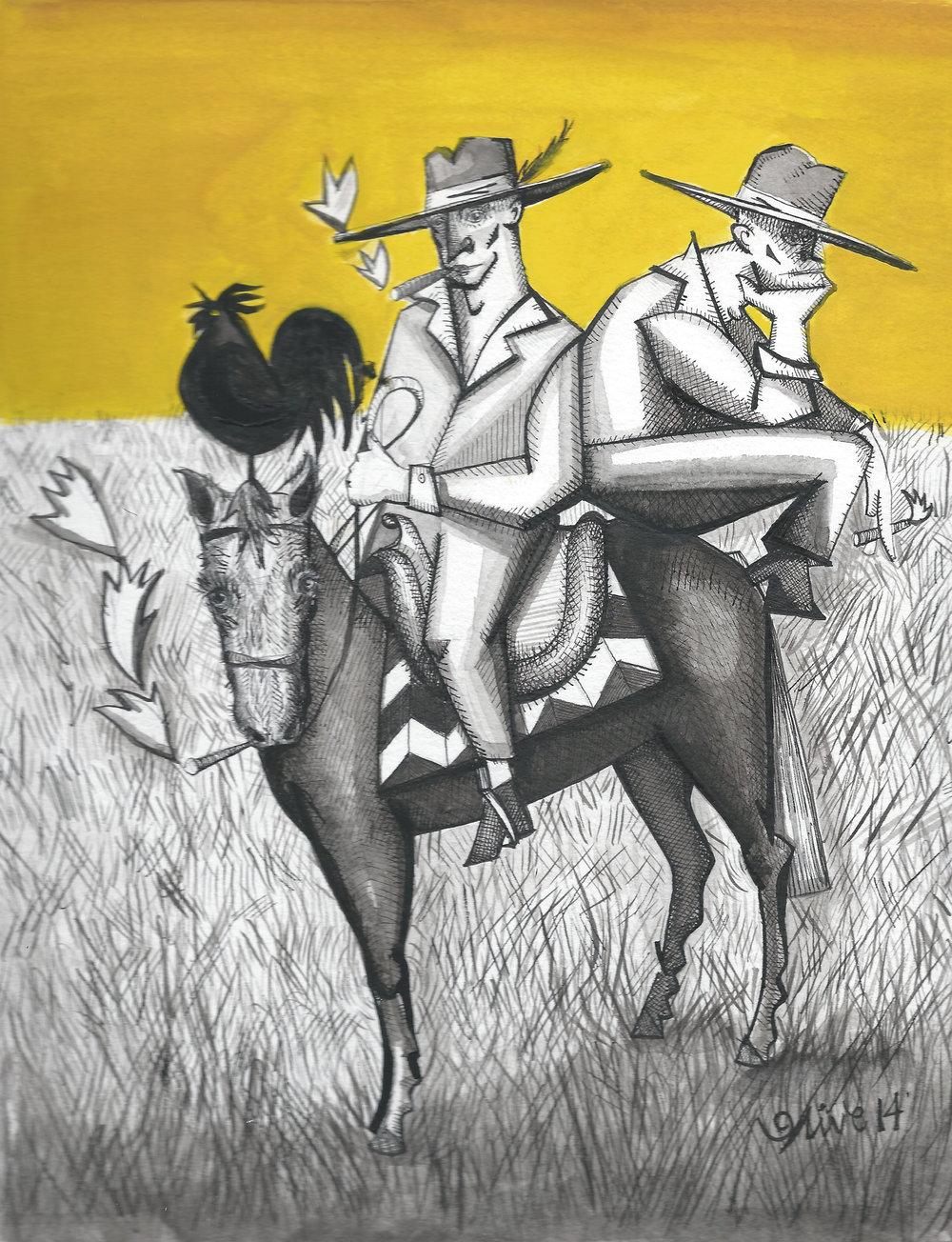 """'Los Campesinos'  12"""" x 16"""" / pen & ink / SOLD"""