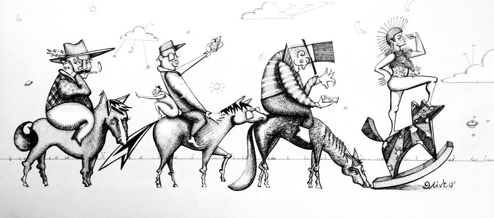 "'Hop on the Band(width) Wagon'  20"" x 9""  / pen & ink  / SOLD"