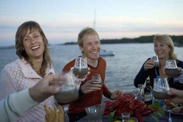 A traditional Swedish crayfish party, replete with mud based drinks, fine Nordic bone structure and famed knitware