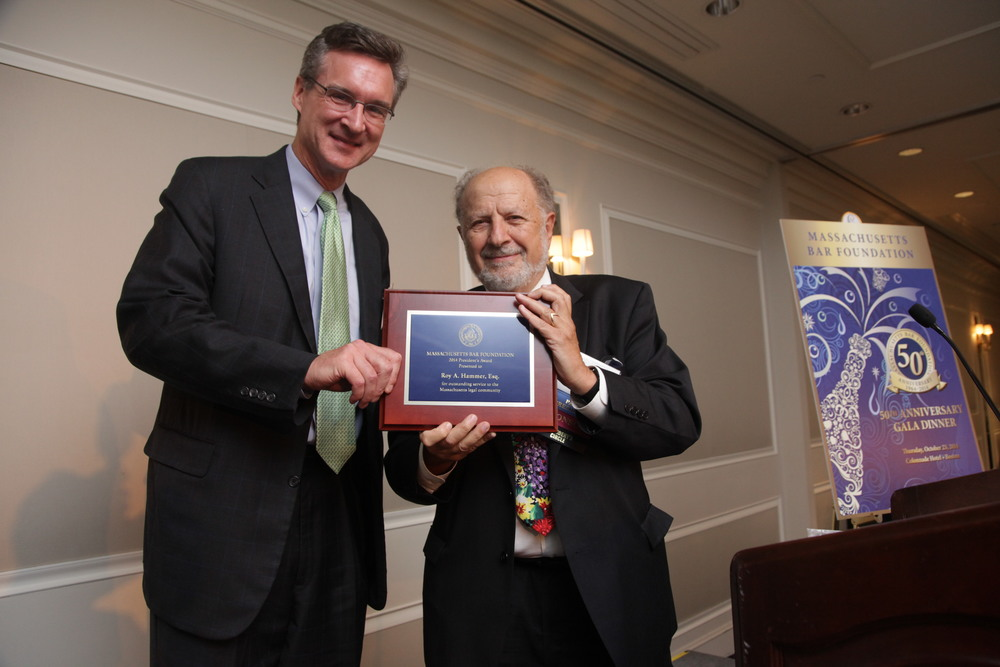 MBF Past President Jerry Cohen presents the 50th Anniversary President's Award to Kurt F. Somerville on behalf of Roy A. Hammer