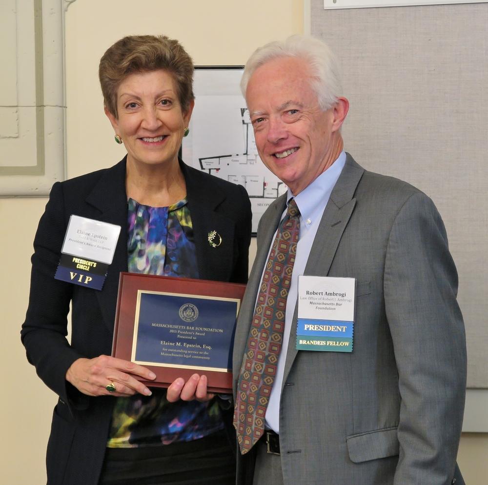 MBF 2015 President's Award recipient Elaine M. Epstein with MBF President Robert J. Ambrogi