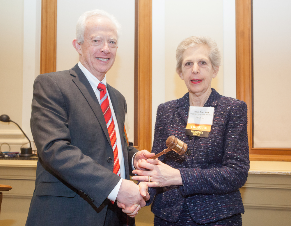 MBF immediate past President Robert J. Ambrogi passed the gavel to Janet F. Aserkoff at the 2016 Annual Meeting.