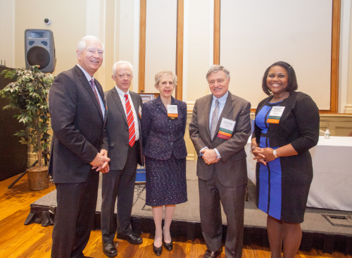 2016 Officers (from left) Treasurer Richard J. Grahn, Past President Robert J. Ambrogi, President Janet F. Aserkoff, Vice president Harvey Weiner, and Secretary Angela C. McConney Scheepers