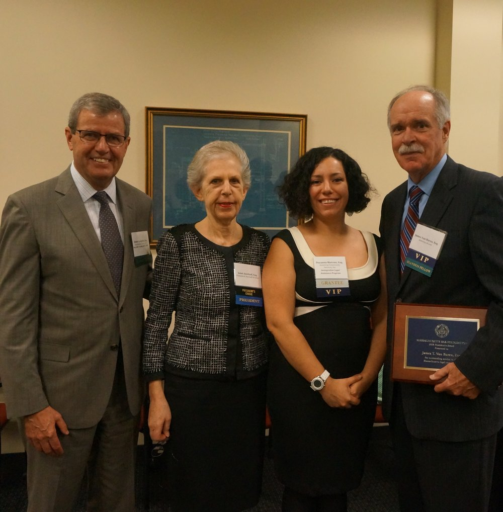 Robert E. Longden of Bowditch and Dewey, LLP, MBF President Janet F. Aserkoff, MBF Grantee Speaker Dayanna J. Moreno of Ascentria Community Services, and MBF President's Award Recipient James T. Van Buren