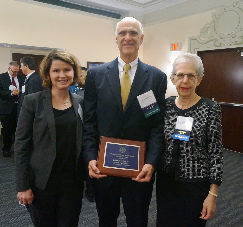 MBF Executive Director Elizabeth M. Lynch, MBF President's Award Recipient Robert S. Molloy, and MBF President Janet F. Aserkoff