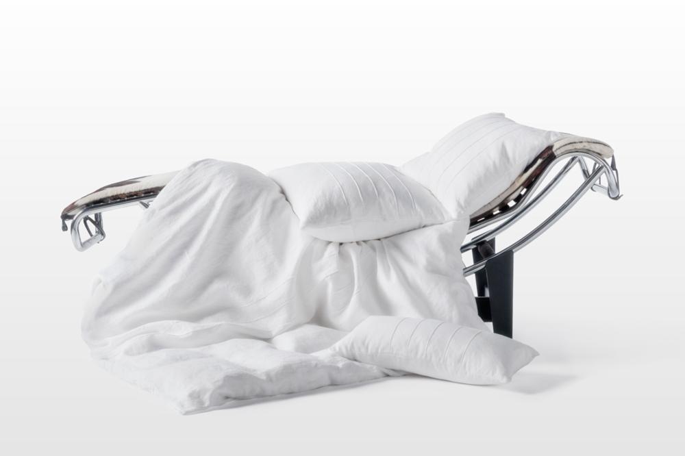 """Douillette  Pillows:16"""" x 16"""" Hand-pintucked, 20"""" x 20"""" hand-pintucked, 10"""" x 20"""" Hand-pintucked"""
