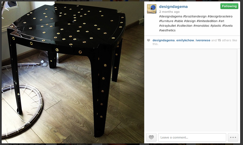 Screenshot of Design da Gema's Instagram account captured on Oct. 29, 2013 showing a table that is part of the Stray Bullet collection.