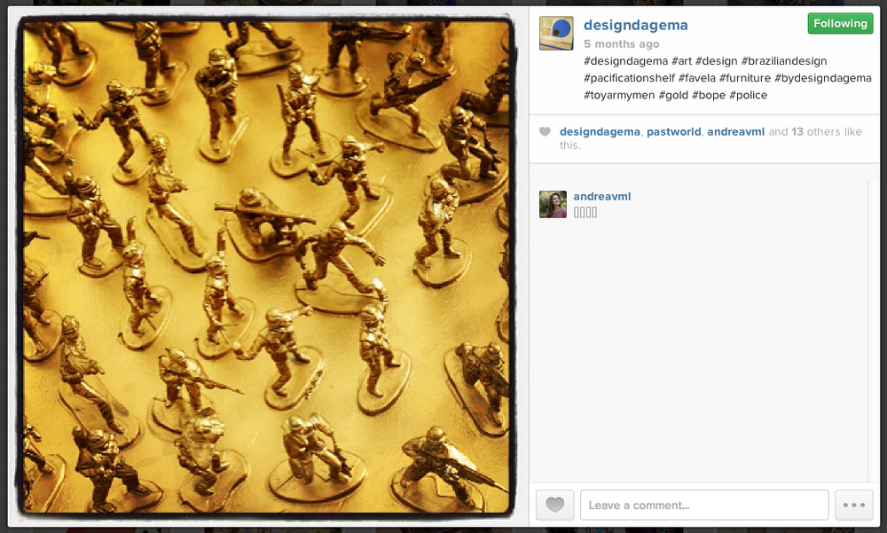 Screenshot of of Design da Gema's Instagram account taken on Oct. 29, 2013 showing a close up of the Pacification shelves.
