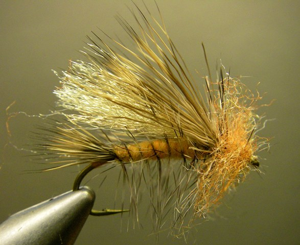 A late night attempt at tying an October Caddis imitation.