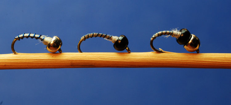 use the one tungsten bead version of the fly for slower, shallower water and the two tungsten bead version for heavier water.