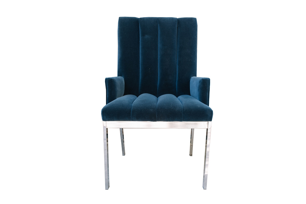 Milo Baughman For DIA Navy Blue Velvet Chrome Parsons Chair