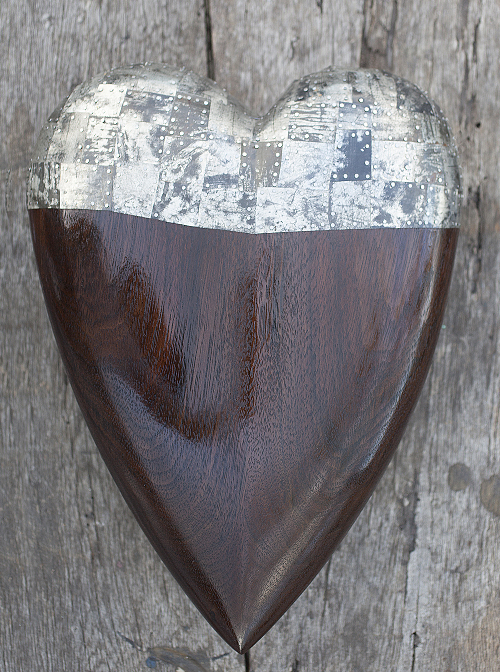 "Heart No.3  Size 14.5""L x 11""W x 2""D  Peruvian Nogal Walnut and Antique Tin Listed for $1,440 USD  Sale Price $1200 USD Have a Wonderful Valentine's Day!"