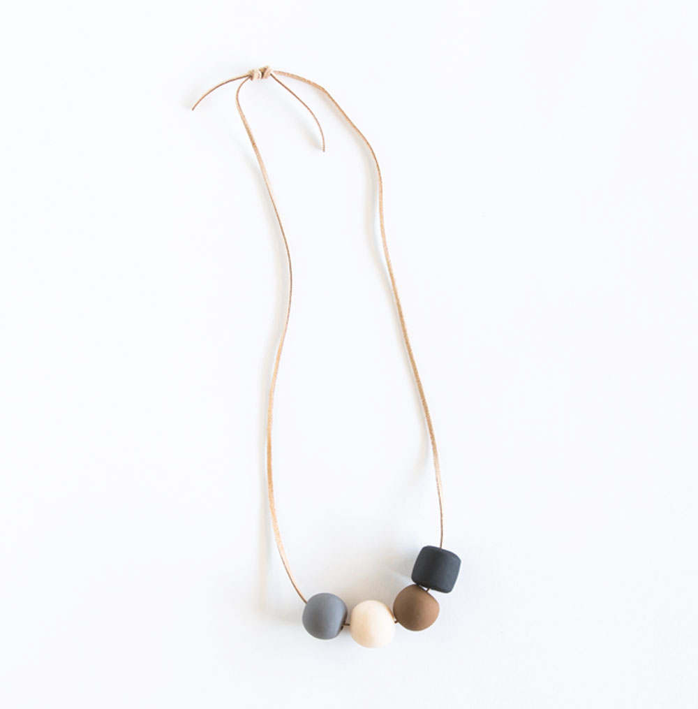 Multi Clay Bead Necklace - $32.00