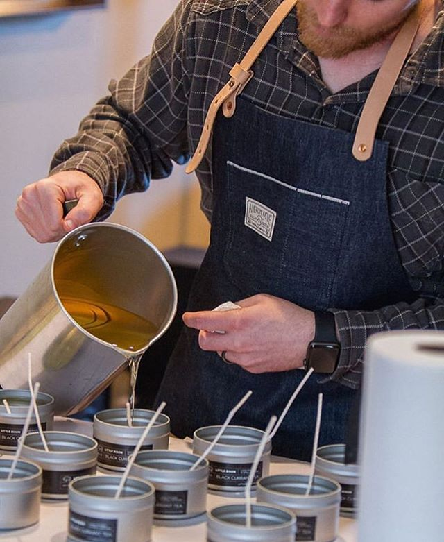 The Maker's Apron is here to outfit you to do what you love. - We love this shot of our friends @littlebisonco doing what they love: creating hand-poured candles! We just got a few of their scents and they are too good. Check 'em out & join us in celebrating makers like Little Bison. - #CelebratingTheAmericanSpirit #AmericanNative