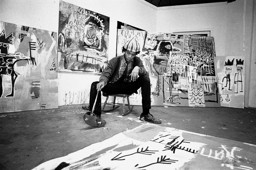 Jean-Michel Basquiat in his studio.