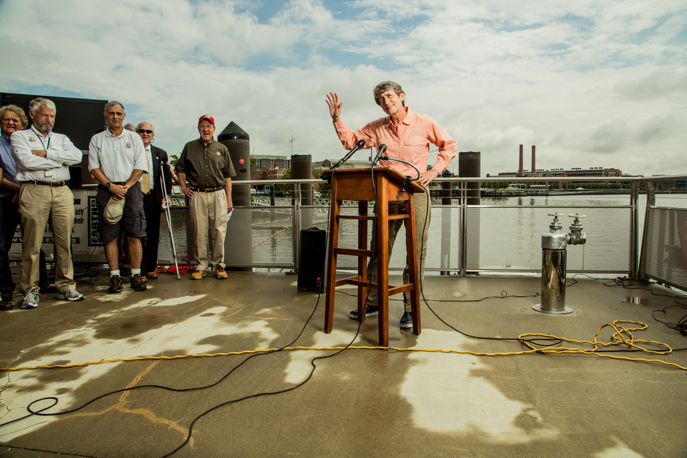 Secretary of the Interior Sally Jewell gives a speech prior to taking DC youth out on the Anacostia River.